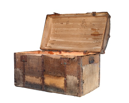 Open antique box or treasure chest on a white background. photo