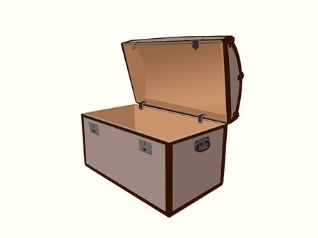 Generic illustration of a treasure box, open and empty on a white background  Stock Illustration - 17479969
