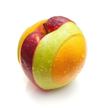 Slices of various fruits connected into one whole