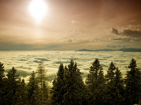 Sunlight over the foggy valley during winter  photo