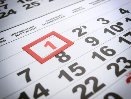 first day: Labor day is marked on the calendar  Stock Photo