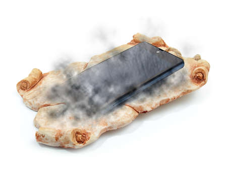 stone tablet: Conceptual image about changes of communication devices through history.