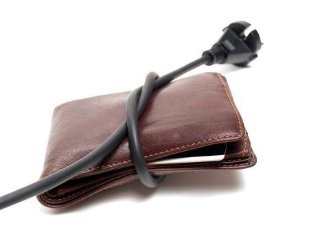 Conceptueel beeld van dure elektriciteitskosten. Stockfoto
