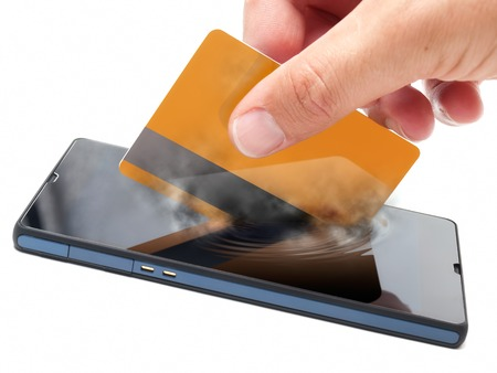 Conceptual view about checkouts or payments over Internet and mobile devices  photo