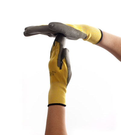 work gloves: Hands with work gloves on a white background show timeout sign.