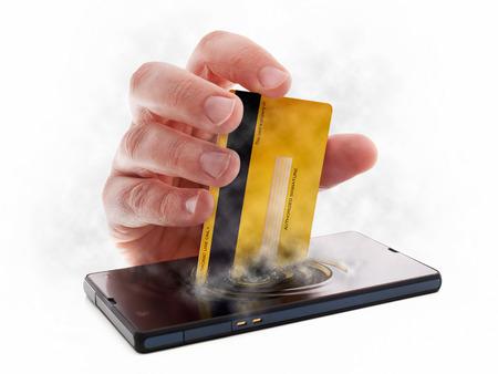 Metaphorischen Bild zu Kassen oder Zahlungen über Internet und mobile Geräte