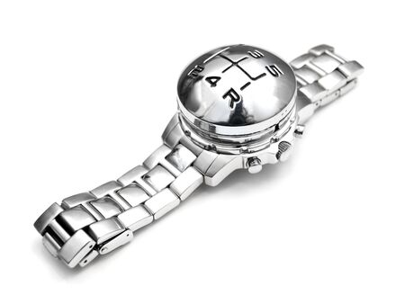 analogous: Wristwatch with gearshift speed marks instead of clock face on a white background.