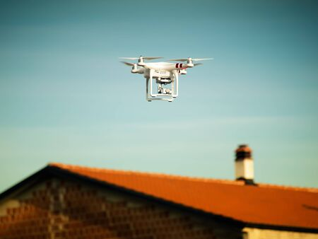 View of the drone over the rooftops.