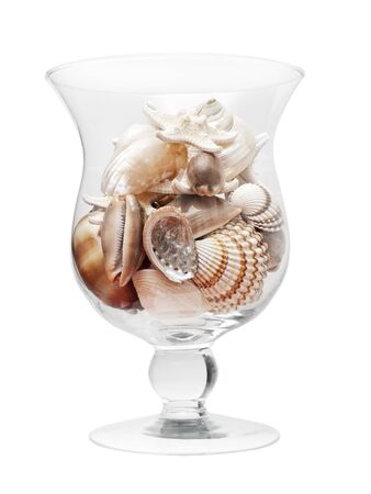 Glass full of see shells isolated on a white background.