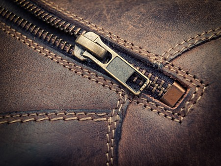 Closeup view of the zipper on leather clothing. Stockfoto
