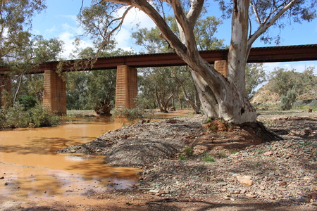 Railway line over creek bed, South Australia