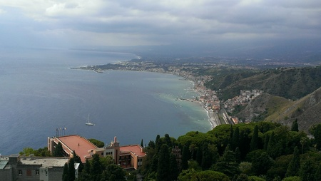 Views of Taormina from Ancient Theatre, Sicily Stock Photo