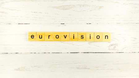 Eurovision Song Contest.words from wooden cubes with letters