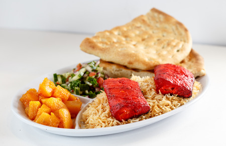 Fish kabob with rice and naan