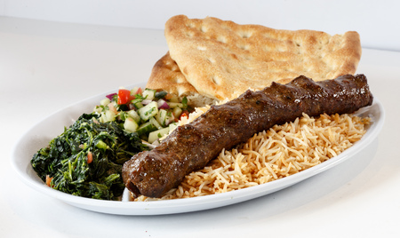 Sikh kabob with rice and naan Stock Photo