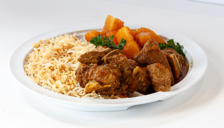 Lamb dinner with rice and sweet potatoes