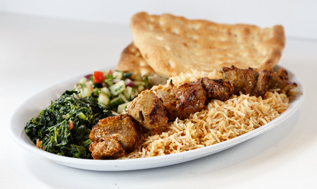 Beef Kabobs with rice and naan