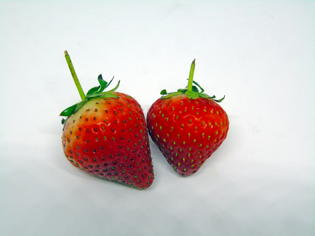 Two Strawberries Isolated on White Background