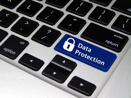 Data Protection Laptop Button Stock Photo