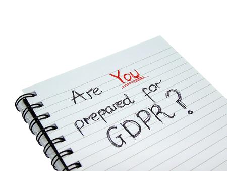 Sind Sie vorbereitet für die allgemeine Datenschutz-Verordnung Notebook (Isolated on White Background) Standard-Bild