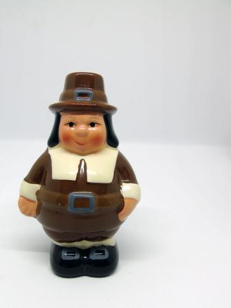 American Thanksgiving Pilgrim Man Isolated on White Background
