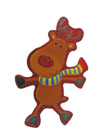 Reindeer Christmas DecorationGift Tag Isolated on White Background