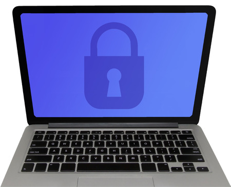 Laptop Computer Screen Displaying Padlock - Data Protection Concept (Isolated on White Background)