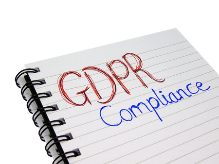 General Data Protection Regulation (GDPR)  Compliance Words on Notebook (Isolated on White Background with Clipping Path)