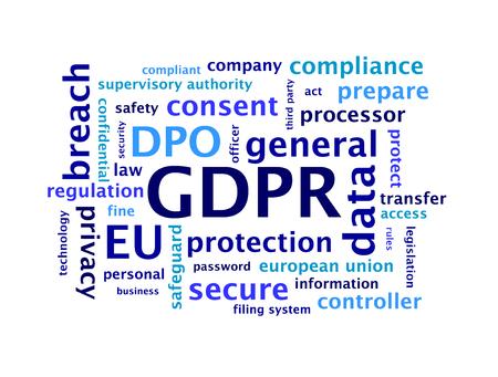 Algemene gegevens beschermingsverordening (GDPR) Word Cloud Stockfoto