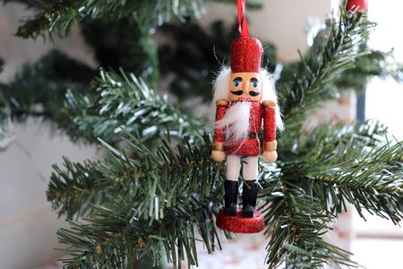 Red Glittery Nutcracker. Christmas Tree Decoration