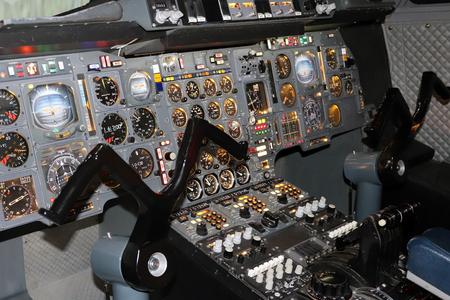 Airplane Pilots Cockpit with Control Panels