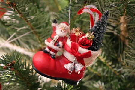 Christmas DecorationOrnament Hanging on Tree - Santa Claus Standing on Boot