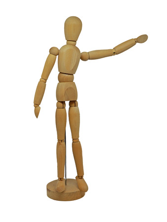 Wooden Figurine Model with Arm Pointing Isolated on White Background