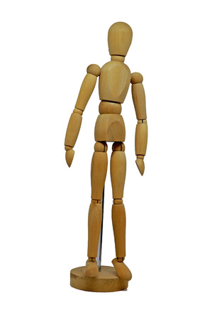 Wooden Figurine Model Isolated on White Background