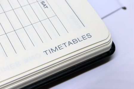 Timetables Label on Diary Page Archivio Fotografico
