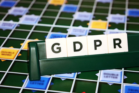 General Data Protection Regulation (GDPR) Board Game Tiles Stockfoto
