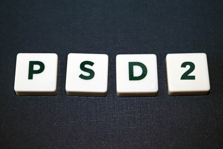Payment Services Directive (PSD2) Board Game Tiles 版權商用圖片