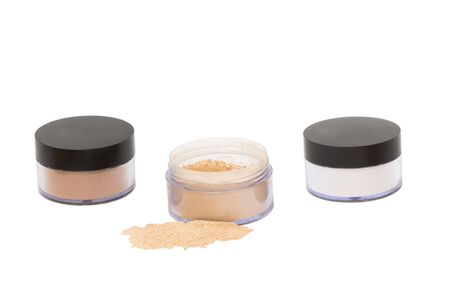beaty: Three  jars with beaty powder isolated in white