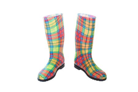 colored waterproof boots (gumboots) isolated on white photo
