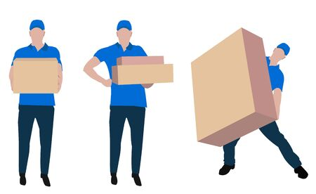 Cargo officer carrying package. Big packages. Blue shirt.  イラスト・ベクター素材