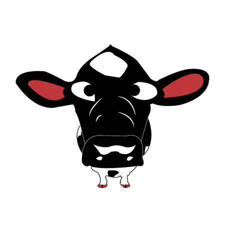 The big headed, funny cow which gapes around Ilustração