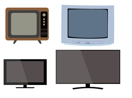 The chronology of television, the evolution of television, the change of television from past to present. Tv vectors