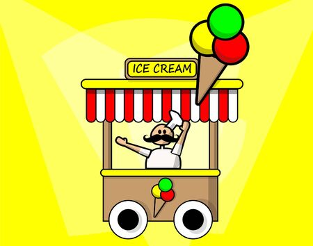 Ice cream seller selling ice cream in ice cream truck. Whiskered. Colorful vector. Vettoriali