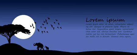 Dusk, elephants, birds walk in the landscape. Banner vector. Darkness of the night Ilustracja