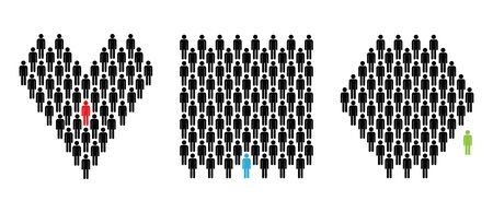 Lonely man in the crowd. Leader man. Excluded man. Love. The human community. Simple Man. Icon set. Infographic vector.