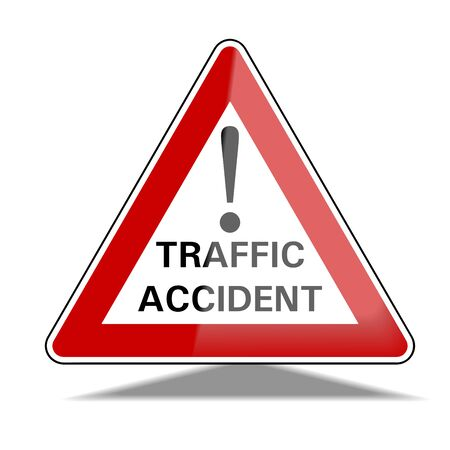 Traffic accident traffic sign, exclamation sign, warning sign,, traffic symbol. Caution! There is a traffic accident. Vectorial illustration.
