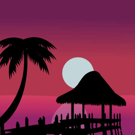 Beach and straw umbrella sunset over the tropical sea. Summer. Silhouette coconut palm trees on the beach at sunset. Vintage tone.