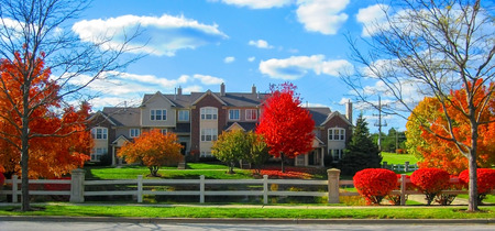 Residential Area View On A Sunny Day In Autumn