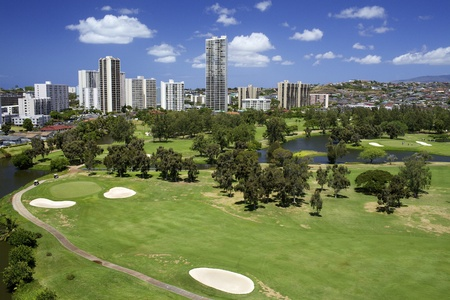 Golf Course with High Rise Buildings Stock fotó