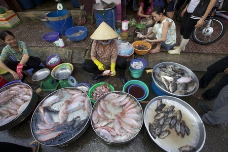 Ho Chi Minh City, Vietnam - Circa juni 2010: straatverkoper in Ho Chi Minh City, Vietnam verkoop van verse vis op de stoep Redactioneel